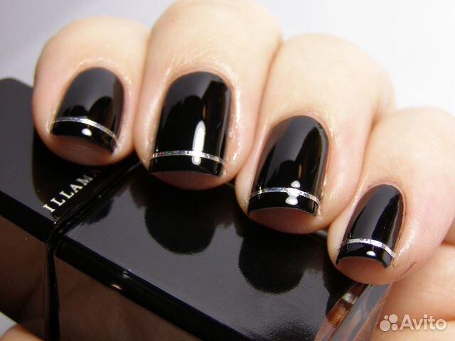 Дизайн на черных ногтях фото