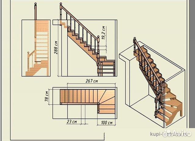 Лестница своими руками лестница с поворотом на 90