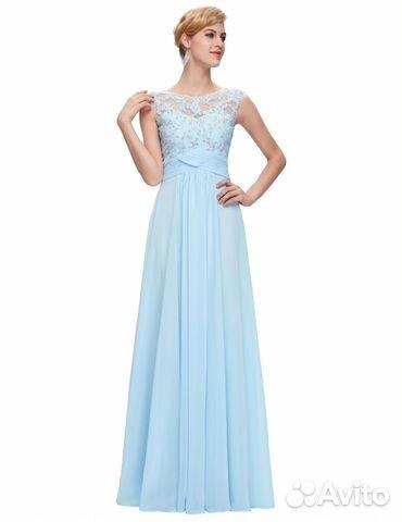 ec7ea517f34 Новое голубое выпускное длинное вечернее платье