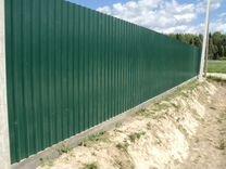 Забор из профнастила 2 метра с21 RAL 6014