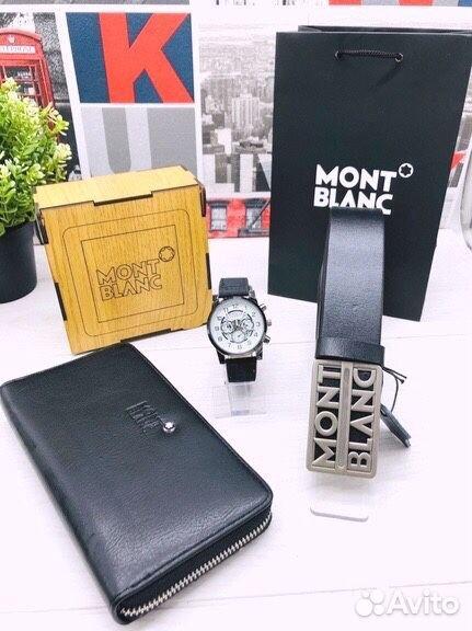 Подарочный набор Mont B (часы, портмоне, ремень)  89063031640 купить 1