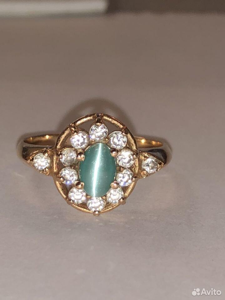 Золотое кольцо 585 с кабашоном и фианитами  89817050993 купить 1