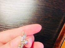 Золотые серьги бриллиант тюльпан
